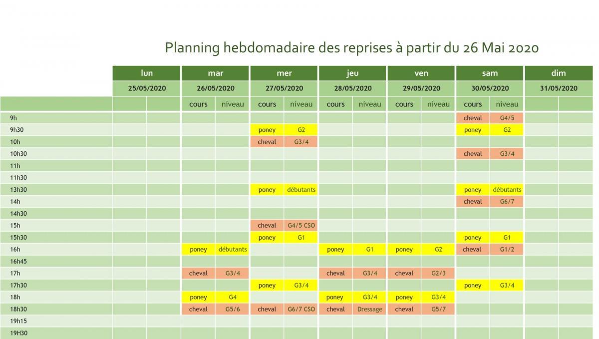 Planning hebdomadaire des reprises a partir du 26 mai